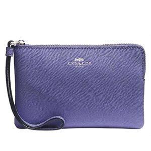 NWT COACH Leather Corner Zip Wristlet Light Purple